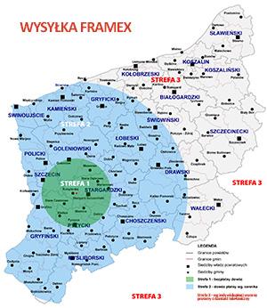 strefy wysyłki Framex