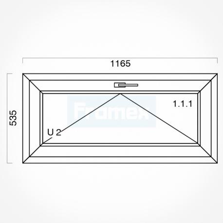Okno typowe (O3) 1165 x 535 mm białe
