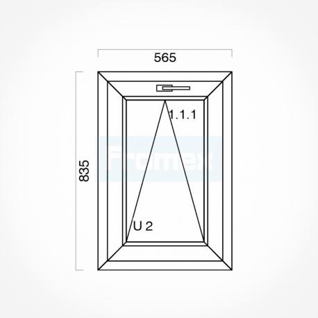 Okno typowe (O4) 565 x 835 mm białe