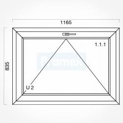 Okno typowe (O6) 1165 x 835 mm białe