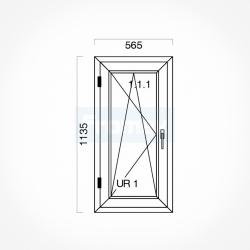 Okno typowe (O11) 565 x 1135 mm białe