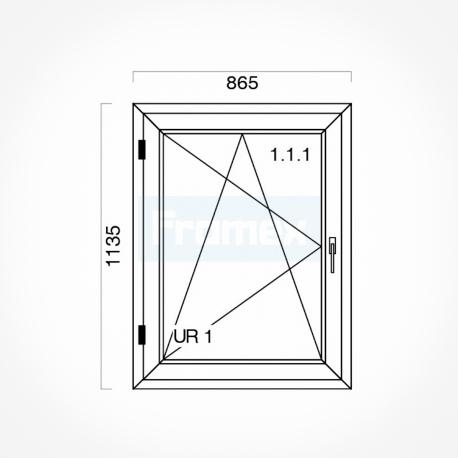Okno typowe (O15) 865 x 1135 mm białe