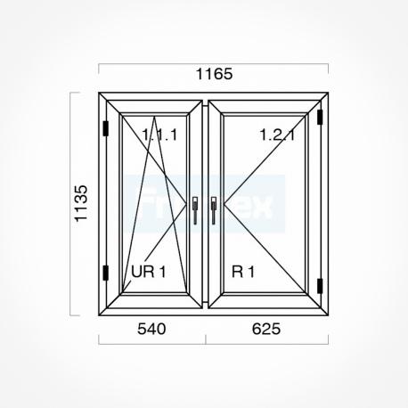 Okno typowe (O17a) 1165 x 1135 mm białe