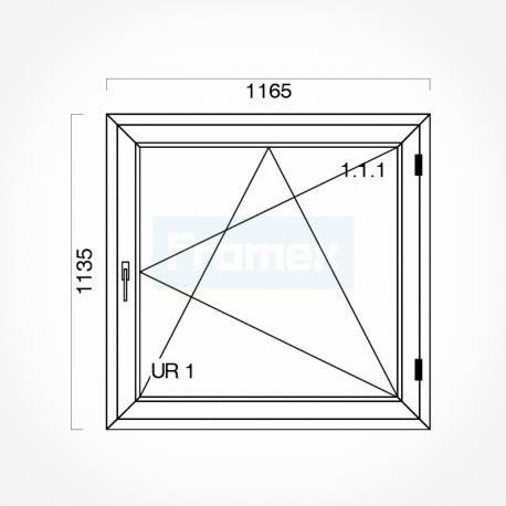 Okno typowe (O16) 1165 x 1135 mm białe