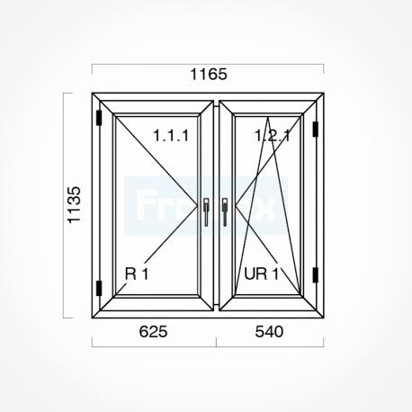 Okno typowe (O16a) 1165 x 1135 mm białe
