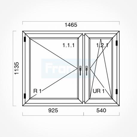 Okno typowe (O18) 1465 x 1135 mm białe