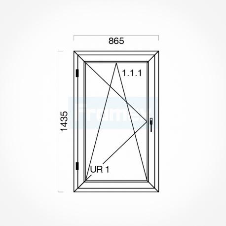 Okno typowe (O31) 865 x 1435 mm białe
