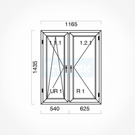 Okno typowe (O33a) 1165 x 1435 mm białe
