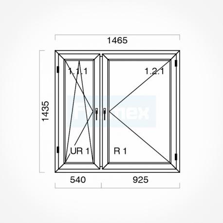 Okno typowe (O35) 1465 x 1435 mm białe