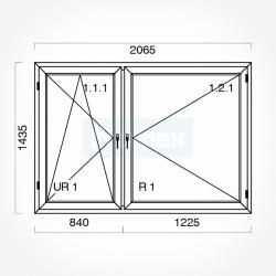 Okno typowe (O39) 2065 x 1435 mm białe