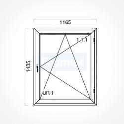 Okno typowe (O32) 1165 x 1435 mm białe