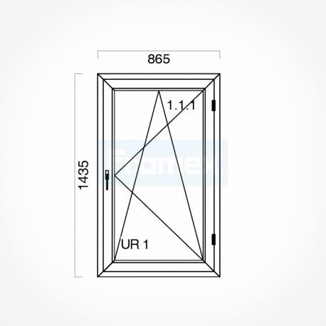 Okno typowe (O30) 865 x 1435 mm białe