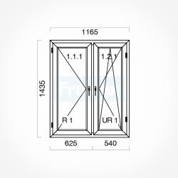 Okno typowe (O32a) 1165 x 1435 mm białe