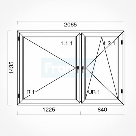 Okno typowe (O38) 2065 x 1435 mm białe