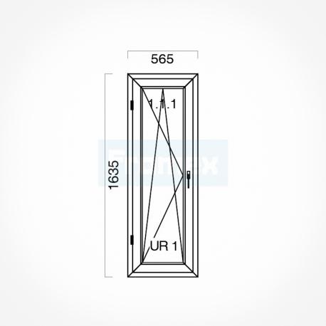 Okno typowe (O43) 565 x 1635 mm białe