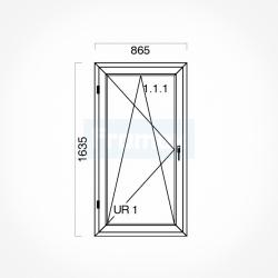 Okno typowe (O47) 865 x 1635 mm białe