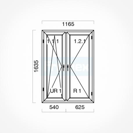 Okno typowe  (O49a) 1165 x 1635 mm białe