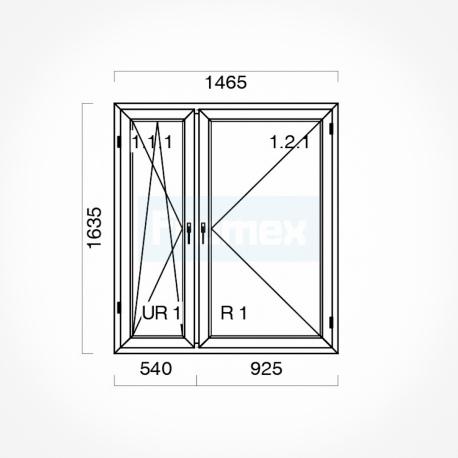 Okno typowe (O51) 1465 x 1635 mm białe