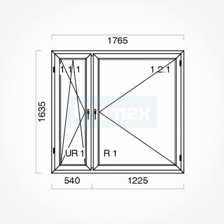 Okno typowe (O53) 1765 x 1635 mm białe