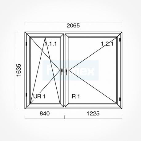 Okno typowe (O55) 2065 x 1635 mm białe