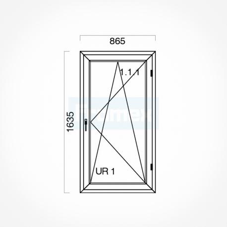 Okno typowe (O46) 865 x 1635 mm białe