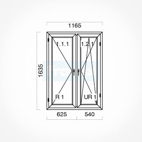 Okno typowe (O48a) 1165 x 1635 mm białe