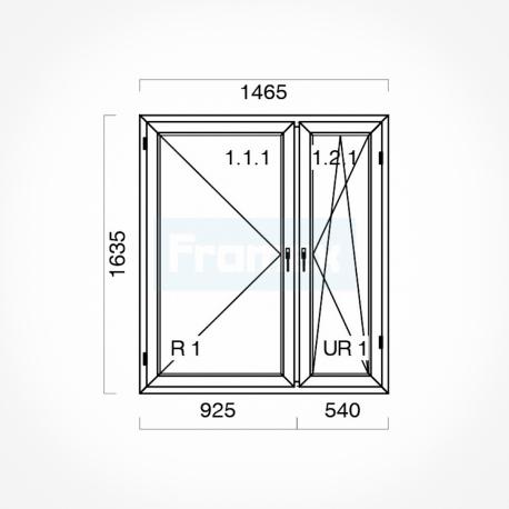 Okno typowe (O50) 1465 x 1635 mm białe