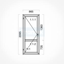 Okno typowe (OB3) 865 x 2095 mm białe