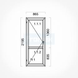 Okno typowe (OB5) 865 x 2195 mm białe