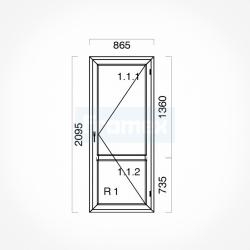Okno typowe (OB4) 865 x 2095 mm białe