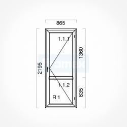 Okno typowe (OB6) 865 x 2195 mm białe