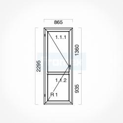 Okno typowe (OB7) 865 x 2295 mm białe
