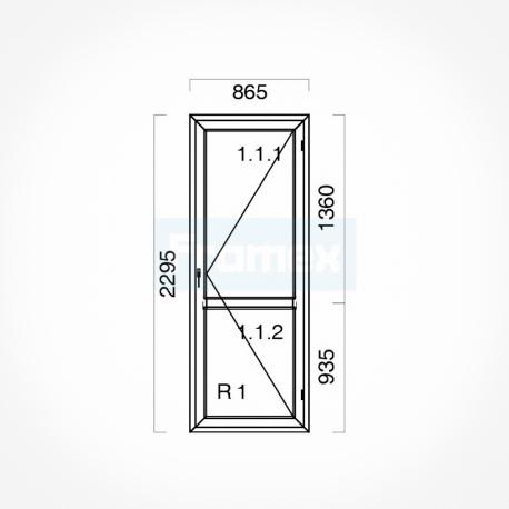 Okno typowe (OB8) 865 x 2295 mm białe