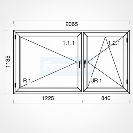 Okno typowe (O22) 2065 x 1135 mm białe