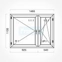 Okno typowe (O18) 1465 x 1135 mm białe Aluplast