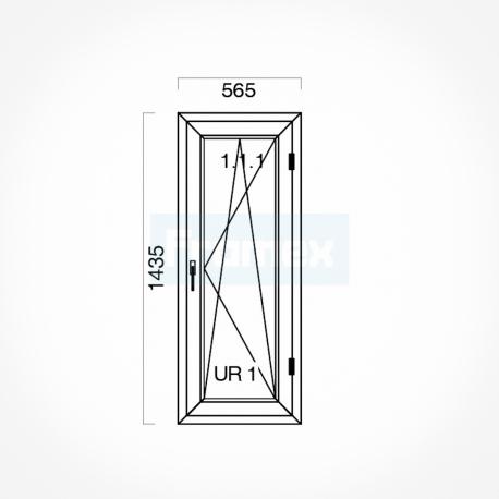 Okno typowe (O26) 565 x 1435 mm białe Gealan