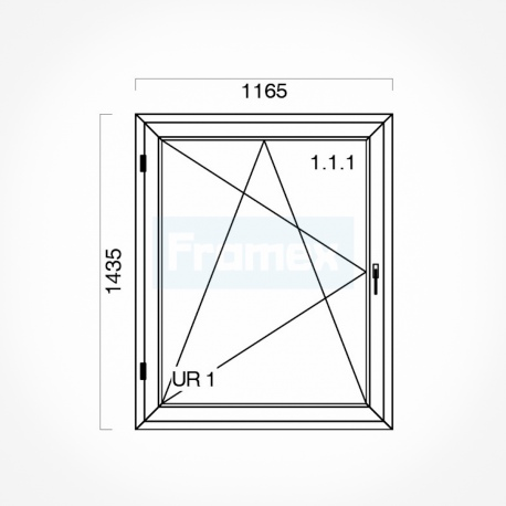 Okno typowe (O33) 1165 x 1435 mm białe Gealan