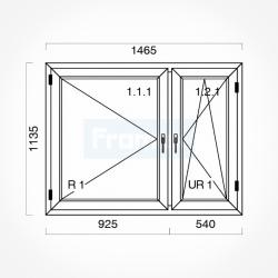 Okno typowe (O18) 1465 x 1135 mm białe Gealan