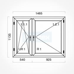 Okno typowe (O19) 1465 x 1135 mm białe Gealan
