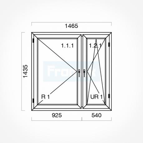 Okno typowe (O34) 1465 x 1435 mm białe Gealan