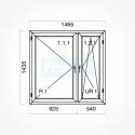 Okno typowe (O34) 1465 x 1435 mm Gealan