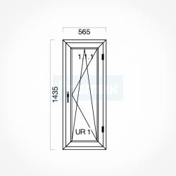 Okno typowe (O26) 565 x 1435 mm białe Brugmann