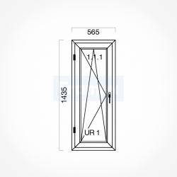 Okno typowe (O27) 565 x 1435 mm białe Brugmann