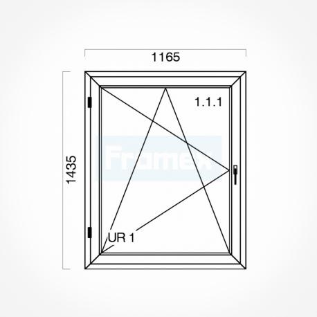 Okno typowe (O33) 1165 x 1435 mm białe Brugmann