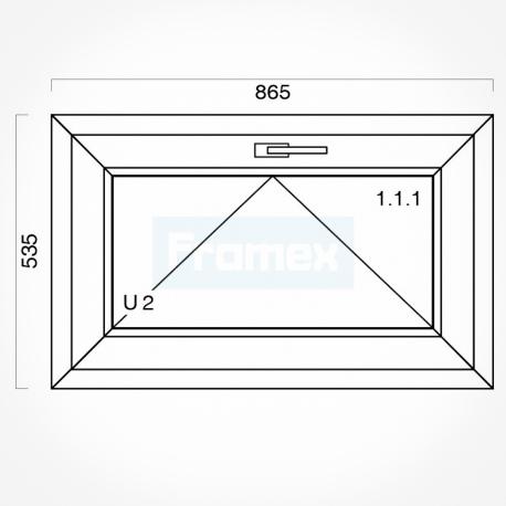 Okno typowe (O2) 865 x 535 mm białe Brugmann
