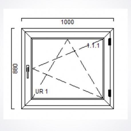 Okno 1000 x Wysokość 880 mm Nebraska / Biały