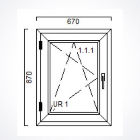 Okno 670 x Wysokość 870 mm Nebraska / Biały