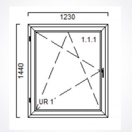 Okno 1230 x Wysokość 1440 mm  Biały